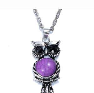 Purple Vintage Style Crystal Owl Necklace
